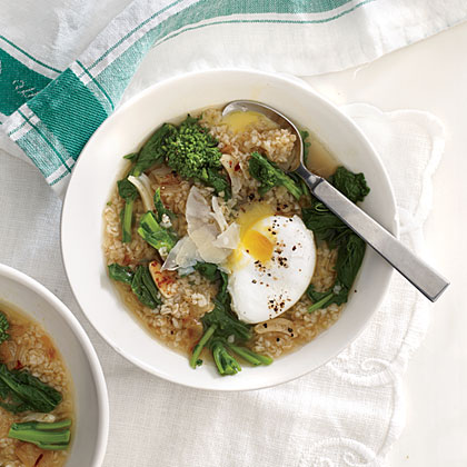 Stewed Bulgur and Broccoli Rabe with Poached Eggs