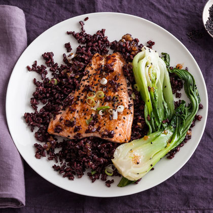 <p>Gingered Salmon Over Black Rice with Bok Choy</p>
