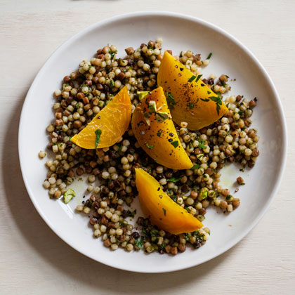<p>Golden Beets with Parsley Pesto and Fregola</p>