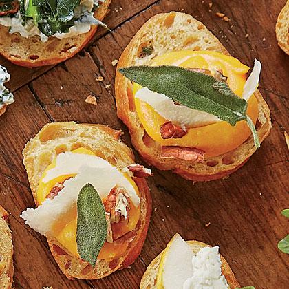 Butternut Squash-and-Pecan Crostini