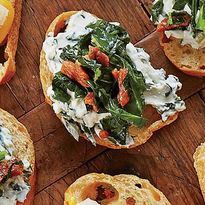 Ham-and-Greens Crostini