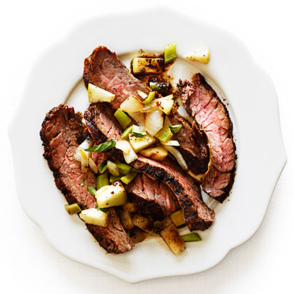 Coffee and Ancho Chile Skirt Steak with Green Chile-Apple Relish
