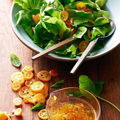 Kumquat Mint Salad with Jasmine Dressing