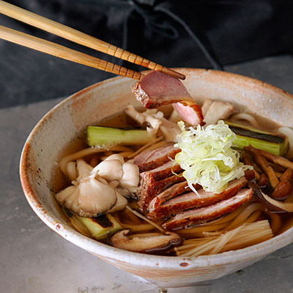 Roast Duck and Mushroom Udon (Kamo Kinoko Udon) Recipe