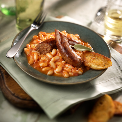 The great flavors and healthy qualities of this beloved Italian bean are made even more delicious with this Johnsonville recipe.  The vegetables in this hearty dish make it healthy, the Johnsonville Italian Sausages, make it to die for.