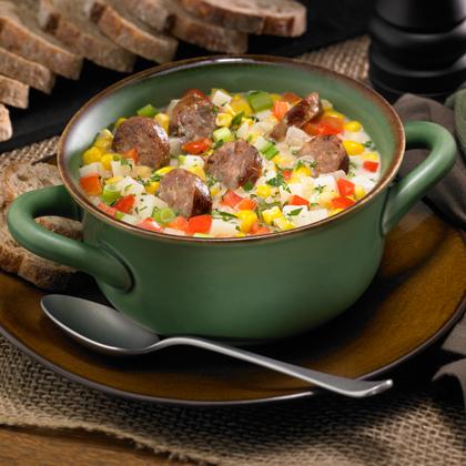 Corn and Potato Chowder with Mild Italian Sausage