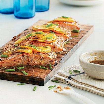 Mustard-Glazed Planked Salmon