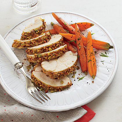 Nut-crusted Chicken with Herbed Carrots