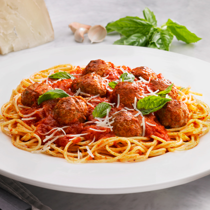 Want a great spaghetti and meatballs dish without the fuss?  Update this pasta classic with Johnsonville!  The secret to this exceptional recipe is Johnsonville Classic Italian Meatballs.  These delicious mouthfuls are easy to prep and are bursting with flavor.  Johnsonville Meatballs are also bigger than traditional ready-made meatballs, so you get more yum with each bite.