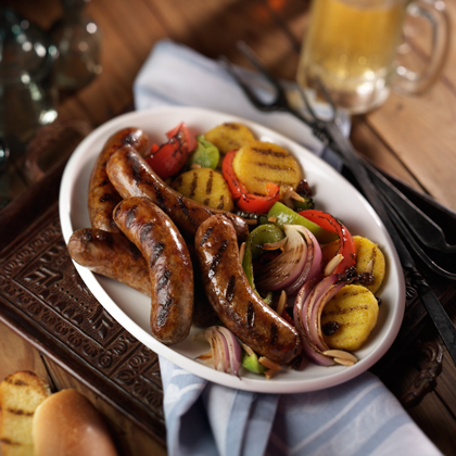 If you think you know sausage and peppers, think again! Take the big flavor of Johnsonville Italian Sausages and add bell peppers, almonds, raisins and onions to take the flavor to the next level. Add polenta and Italian dressing for the best sausage and peppers dish you have ever had!