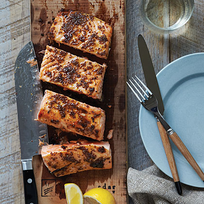 Planked Salmon with Maple-Mustard Glaze Recipe