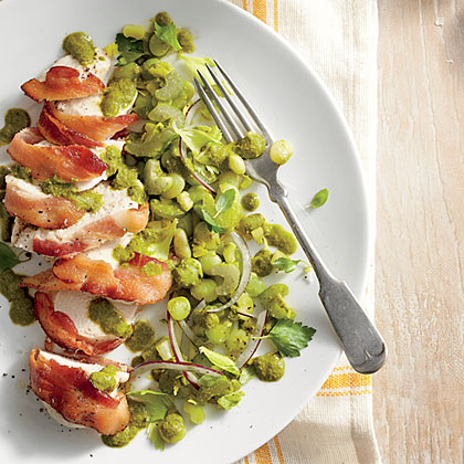 Bacon-Wrapped Chicken with Basil Lima BeansRecipe