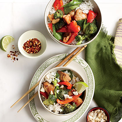 Chicken and Basil Rice Bowl with CashewsRecipe