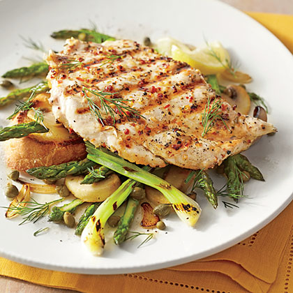 Chicken Breasts with Mushrooms and Asparagus Recipe