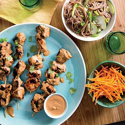 Chicken Kebabs with Cucumber Noodles Recipe