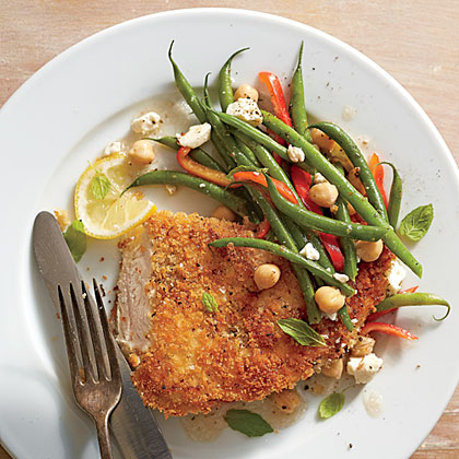 Crispy Chicken with Greek Green Bean Salad RecipeThis quick-fix dinner of Crispy Chicken with Greek Green Bean Salad celebrates the season's freshest green vegetable.