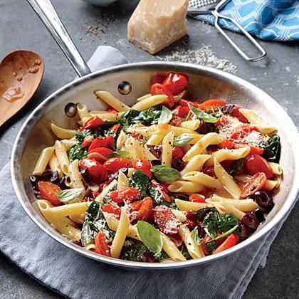 Grape Tomato, Olive, and Spinach Pasta Recipe