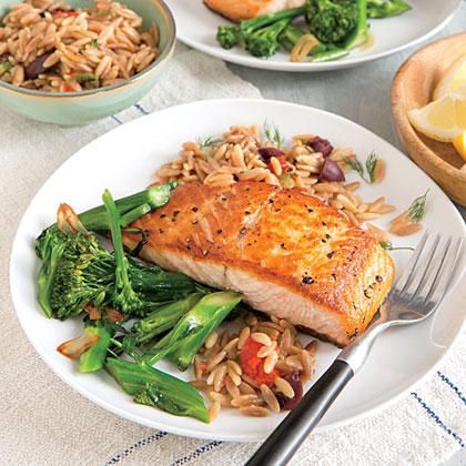 Seared Salmon Fillets With Orzo Pilaf Recipe Myrecipes