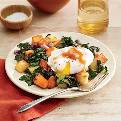 Vegetable and Greens Hash with Poached Egg Recipe