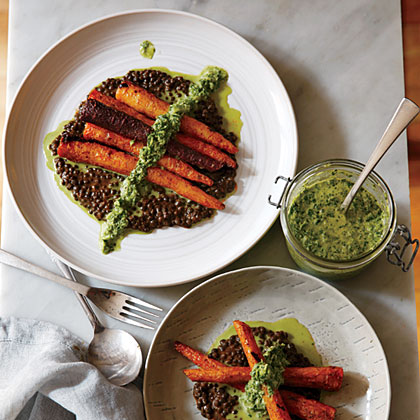 ck-Whole Roasted Carrots with Black Lentils and Green Harissa