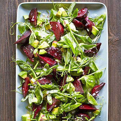 Beet Salad with Pea Shoots