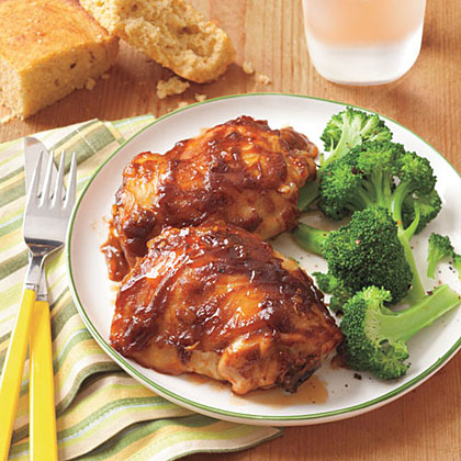 Chicken with Peanut-Butter Barbecue Sauce RecipeCreamy peanut butter is an unexpected addition to bottled barbecue sauce. Serve this easy slow-cooker meal with steamed broccoli and cornbread.