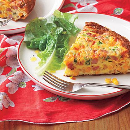 Corn, Ham and Scallion Frittata