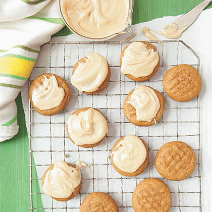 Molasses Cookies with Peanut-Butter Glaze Recipe