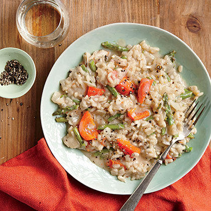 Champagne Risotto with Peppers and Asparagus Recipe