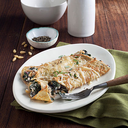 Chard, Caramelized Onion, and Gruyère Crepes Recipe