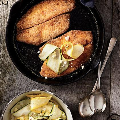 Cornmeal-Crusted Tilapia with Squash Salad