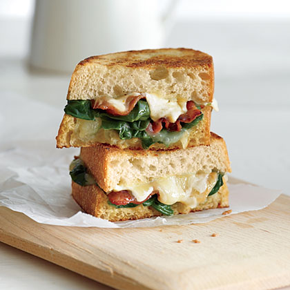 Garlicky Grilled Cheese with Bacon and Spinach Recipe
