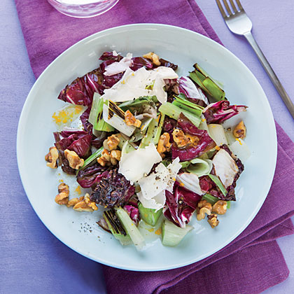 Grilled Leek and Radicchio Salad with Citrus-Walnut Vinaigrette Recipe