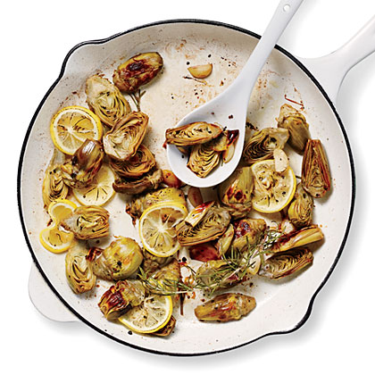Pan-Roasted Artichokes with Lemon and Garlic Recipe