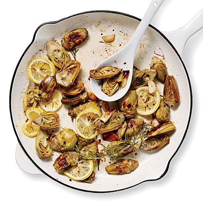 Pan-Roasted Artichokes with Lemon and Garlic