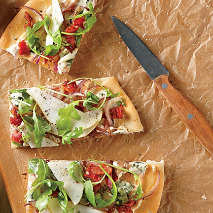 Pear, Blue Cheese, and Bacon Focaccia-Style PizzaRecipe