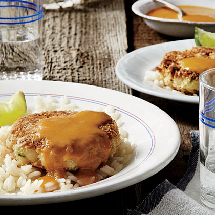 Tilapia Cakes with Mango-Coconut Curry Sauce Recipe