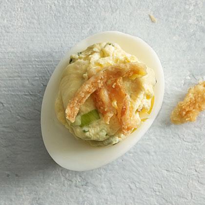 Triple Onion Deviled Eggs