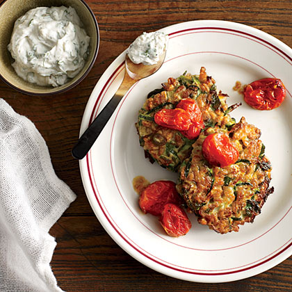 Zucchini-Farro Cakes with Herbed Goat Cheese and Slow-Roasted Tomatoes Recipe