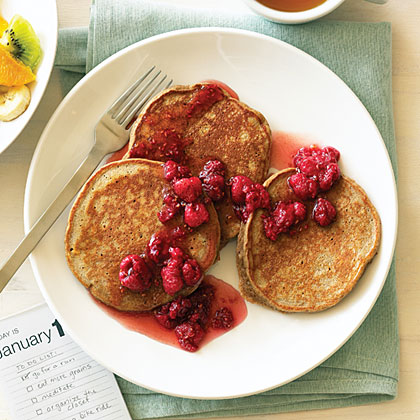 Five-Grain Buttermilk Pancakes with Raspberry Honey