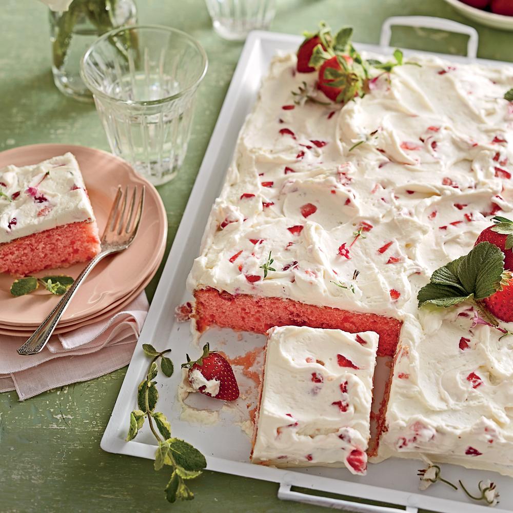 <p>Strawberries-and-Cream Sheet Cake</p>