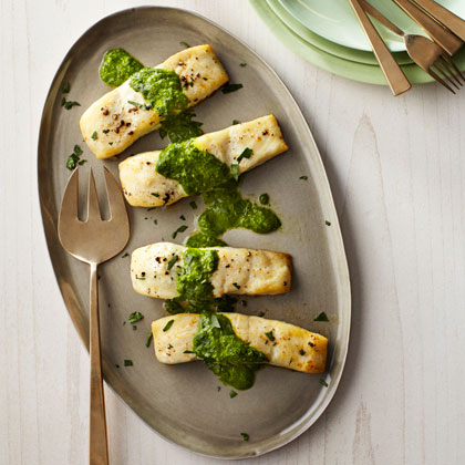 <p>Baked Halibut with Sauce Verte</p>