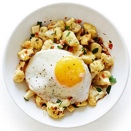 Roasted Cauliflower with a Fried Egg