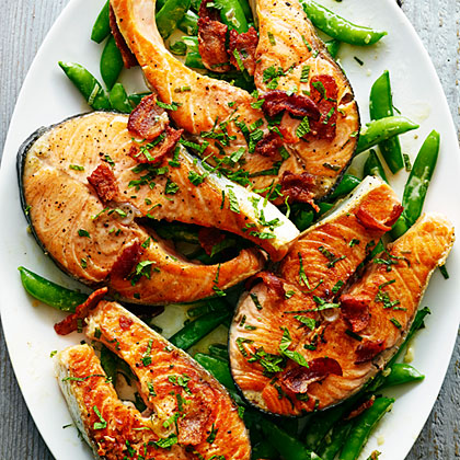 Salmon with Snap Peas, Bacon, and MintRecipe