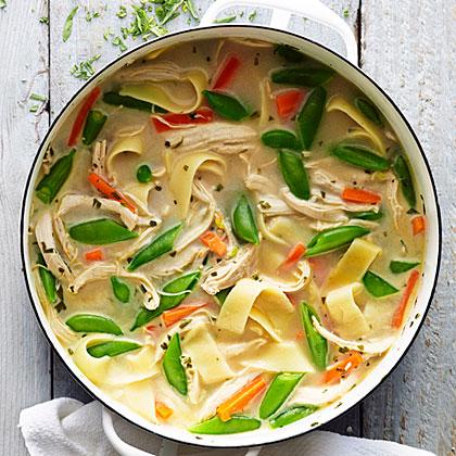 Spring Chicken and Snap Pea Soup Recipe | MyRecipes.com