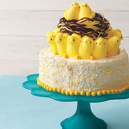 Not only is this Bird's Nest Cake extremely cute, it's also easy and customizable. You can make any cake you want and even switch up the colors of the sprinkles, candies, and marshmallow chicks.Bird's Nest Cake Recipe