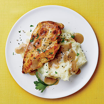 Chicken with Mashed Potatoes and Gravy RecipeThe gravy is the standout, perfect for stirring into mashed potatoes. Serve with quick-cooking greens like spinach or kale for an easy, family-friendly meal.