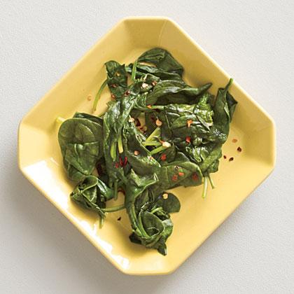 Cider Vinegar-Spiked Steamed Baby Spinach