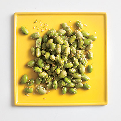 Here's an addictive, crunchy snack with a boost of protein to boot.Edamame with Lime-Sesame Salt Recipe