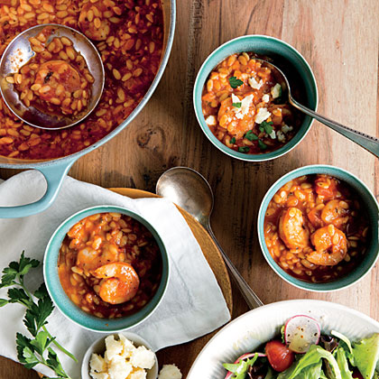 Shrimp Marinara Soup with Crumbled Feta Recipe